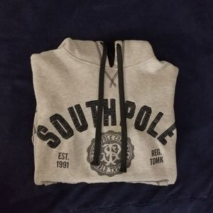 South Pole Men's grey hoodie in a size Small.